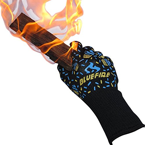 BlueFire Pro Oven Gloves, BBQ Gloves - Great for Kitchen, Grill, Big Green Egg & Fireplace Accessories. Cut Resistant, Forearm Protection -100% Kevlar 932°F Heat Resistance. (Bbq Gloves Green compare prices)
