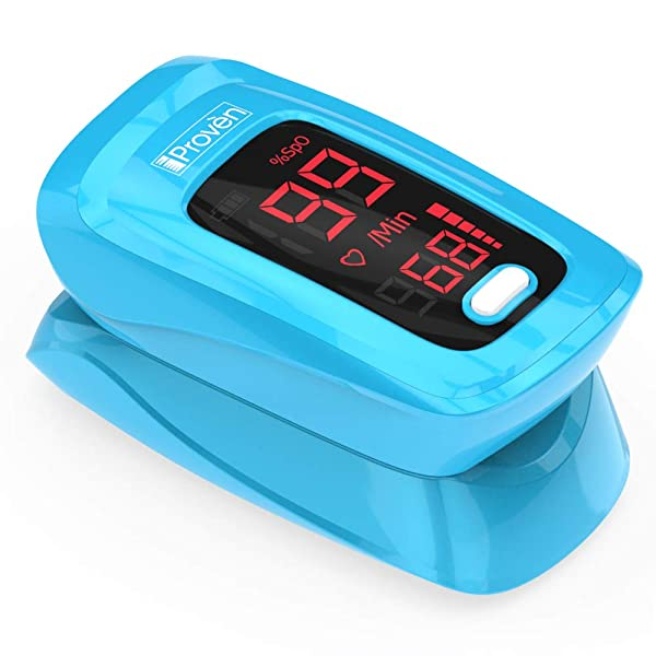Pulse Oximeter Fingertip - iProven OXI-27 Blue - Monitor