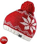 Black Canyon - Cappello lavorato a maglia, con pon pon, bicolore, Rosso (rosso), Taglia unica