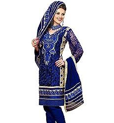 Cenizas Womens Chiffon Unstitched Salwar Suit Dress Material (Gold2012 _Blue _Free Size)