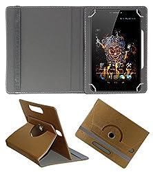 Acm Designer Rotating 360° Leather Flip Case For Ice D3 Spectra Tablet Stand Premium Cover Golden