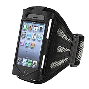 eForCity Sport Workout Armband Compatible with Apple iPhone 4/4S - Retail Packaging - Black