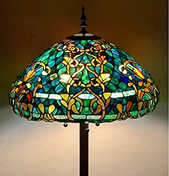 tiffany style stained glass floor lamp azure sea. Black Bedroom Furniture Sets. Home Design Ideas