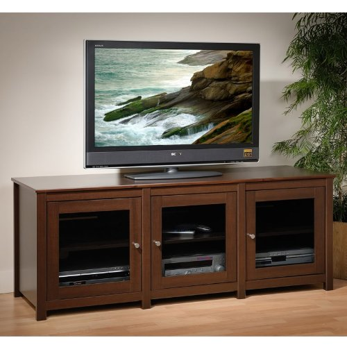 Santino Espresso Flat Panel LCD / Plasma TV Console 3 Glass Doors By Prepac