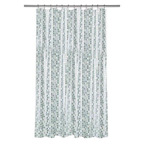 Croydex AE543440YW Silver Mosaic Shower Curtain (Silver)