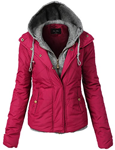 Two Tone Quilted Mix Comfortable Padding Jackets 139-burgundy Medium