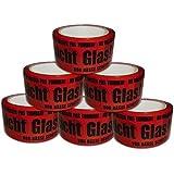 6 Rollen Paketklebeband Vorsicht Glas Paketband Packband rot schwarz VG abrollend