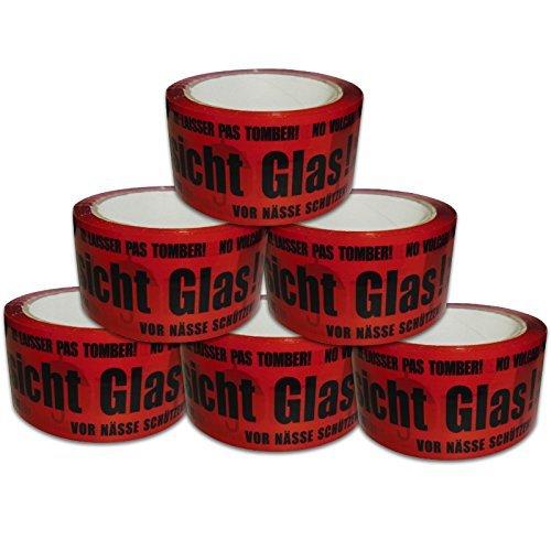 Versando-6PVG50-66-6-Rollen-Paketklebeband-Vorsicht-Glas-VG-laut-rotschwarz