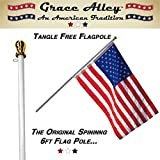 Flag Pole: Best Tangle Free Spinning Flagpole on Amazon! Residential or Commercial 6ft Flag Pole. Free Shipping for Prime Members. Aluminum Spinning Flag Pole (White) 6 Foot Brushed Aluminum. Wind Resistant / Rust Free. 1 Year No Hassle Warranty.