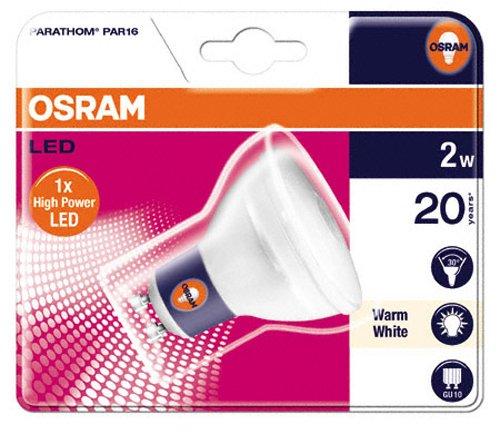 Osram 26833B1  Parathom LED Par 16, GU10 80316-01 LED-Lampe in Reflektorform 2W/100V-240V, warmweiß