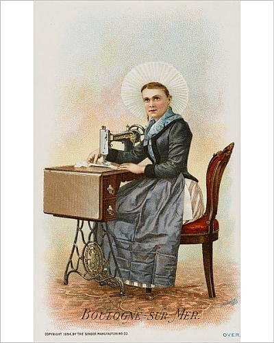 Photographic Print Of A Woman From Boulogne Using A Singer Sewing Machine