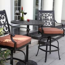 Big Sale Darlee St. Cruz 2-person Cast Aluminum Patio Counter Height Bar Set - Antique Bronze