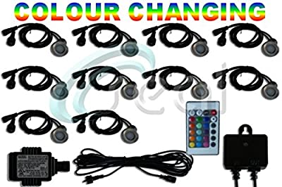 LED Decking / Deck Lights - Pack of 10 - Color Changing - RGB - Multicolour - Includes All Wires, Plug in Transformer and Remote Control Sensor - Recessed Wood Decking Yard Garden Patio Stairs Landscape Outdoor Flush Mount 40mm - Seal Designs