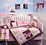 SoHo Pink and Brown Sweetie Garden Baby Crib Nursery Bedding Set 13 pcs included Diaper Bag with Changing Pad & Bottle Case thumbnail