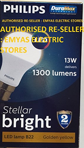 Philips Stellar Bright B22 13W 1300 Lumens LED Bulb (Warm White, Pack of 10)