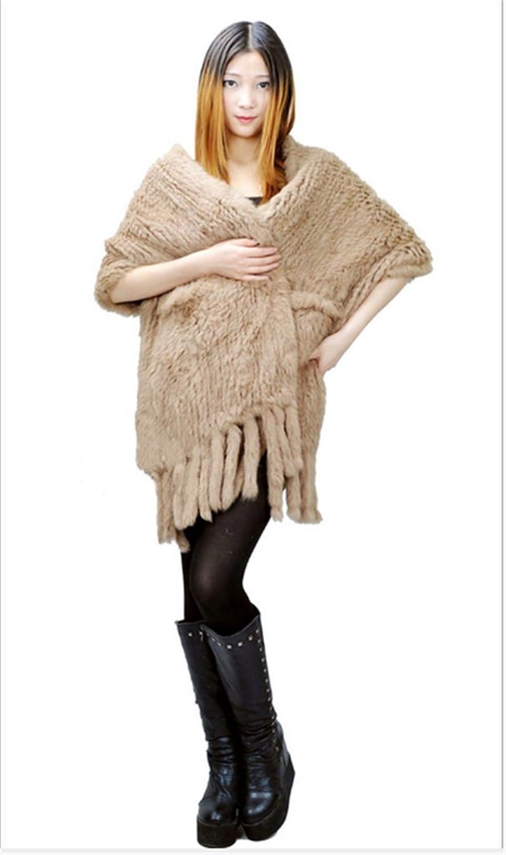 YRLOVE Mode Damen Echter Gestricktes kanichen Pelz Stahl Kap Poncho Mantel jetzt kaufen