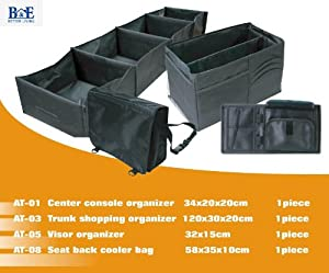 B&E Home Essential - 4 Piece Set - Trunk Organizer Basket with Multiple Compartment Foldable