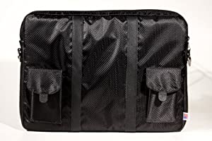 """Geneva Executive Laptop Sleeve W/shoulder Strap (Fits up to 16"""") Made in USA By Giorgio Pistachio Black W/black Leather"""