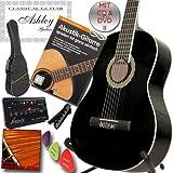 ASHLEY Klassik Konzert Gitarre Schwarz mit Set mit Lehrbuch: Akustikgitarre