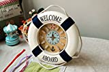 EUBEST New Welcome Aboard Life Ring Buoy Rope Home Decor Wall Clock Style2