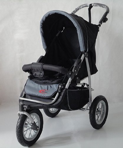 Mamakiddies 3 Wheel Pushchair Jogger Black / Grey *Next Day Delivery*