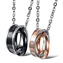 "buy 3Aries Fashion Stainless Steel Black/Rose Gold Plating 2 Rings Mixed Together ""The Only Eternal Love"" W/ Rhinestone Men/Women Lover Pendant Couple Necklace"