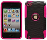 Hybrid Design Protector Hard Case for Apple iPod Touch 4th Generation / 4th Gen &#8211; Hot Pink &amp; Black &#8211; Stylus Pen &amp; The Friendly Swede Microfiber Cleaning Cloth Included