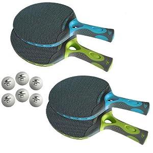 Cornilleau Tacteo Duo Weatherproof 4-player Racket & Ball Set by Cornilleau
