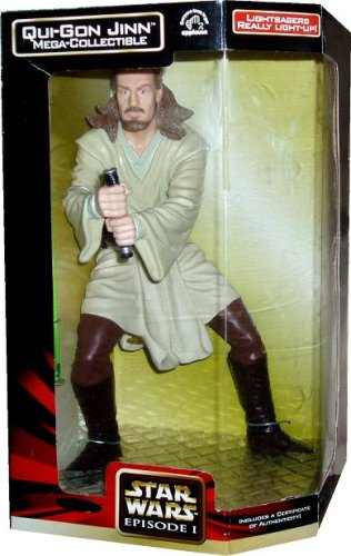 Picture of Applause Star Wars Episode 1 The Phantom Menace Mega Collectible 13 Inch Tall Action Figure : Qui-Gon Jinn with Lightsaber That Really Light Up Plus Certificate of Authenticity (B001L5FWD8) (Star Wars Action Figures)