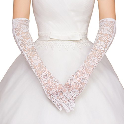 Womens Lace Floral Elbow Length Tulle Bridal Gloves for Dress Driving Wedding