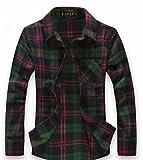 (ハイクルーズ) HIGH CRUISE ギンガム チェック 柄 ネルシャツ メンズ トップス ストリート 長袖 シンプル ファッション タイト カットソー カジュアル アウター ユニセックス Y シャツ (緑 赤 L)