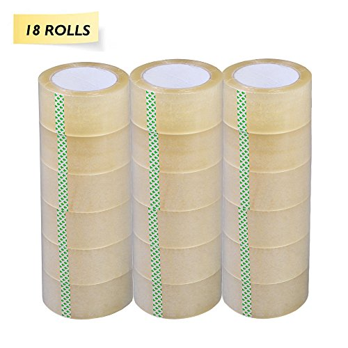 PARTYSAVING 18ROLLS 2″ X 110 Yards (330 ft) Clear Packing Shipping Storage Box Sealing Packaging Tape APL1268, 18 Rolls