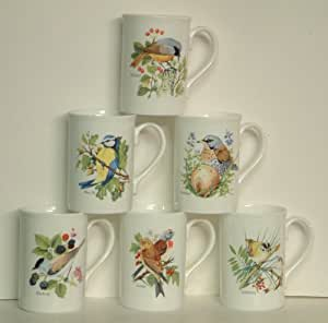 A set of 6 CHINA MUGS with wild garden birds dishwasher safe