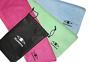 Large Microfiber Beach towels. Premium Quality, Ideal for Travelling, Hiking, Outdoors, Swimming, Sports, Gym, Pilates, Yoga and includes a breathable carry bag for more convenience - Money Back guarantee. Special Christmas Offer