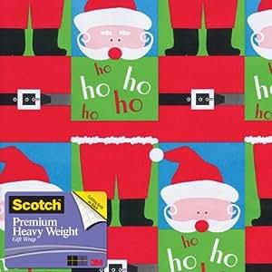 Scotch  Gift Wrap, Split Santa Pattern, 25-Square Feet, 30-Inch x 10-Feet (AM-WPSSA-12)