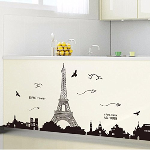 Ussore Eiffel Tower Removable Decor Environmentally Mural