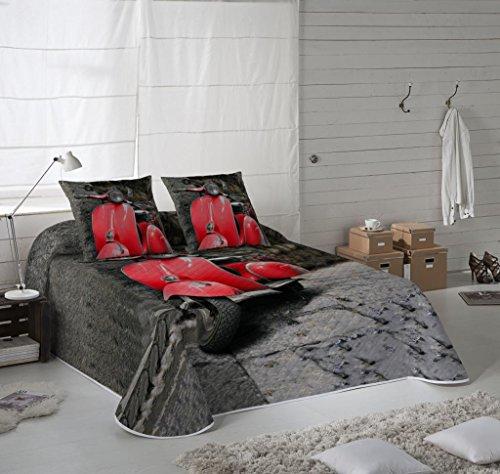 COTTON ART. Colcha Bouti Modelo VESPA ROJA para cama de 105 ( 200 x 260 cm). Algodón 100%.Disponible también para cama de 90.