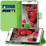 kwmobile Wallet Case Hülle für LG Optimus L7 II - Cover Flip Tasche mit Kartenfach und Ständerfunktion in Grün
