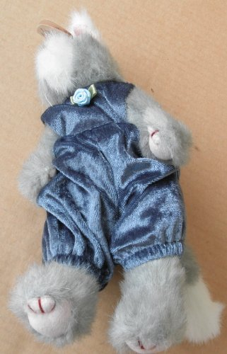 TY Attic Treasure Collection Whiskers Blue Dressed Cat Plush Toy Stuffed Animal
