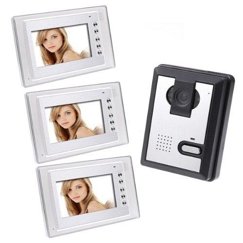 7 Inch LCD Color Video Door Phone Doorbell Intercom Kit 1-camera 3-monitor Night Vision