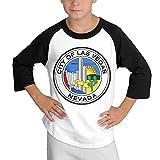 Rahaka ラハカ 学生 ボーイズ 3/4スリーブ ラグラン Tシャツ 今季最新 スポーツウェア ラスベガス カウボーイ ロゴ カジュアル 柔らかい Black X-Large