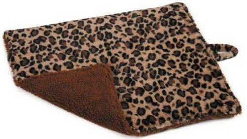 Slumber Pet Reversible Brown & Black Leopard Print & Berber Fleece Warm Thermal Pet Cat Mat Bed 21.5″L X 18″W