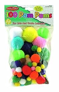 Charles Leonard Pom-Poms - Assorted Sizes/Colors - 100/Bag, 69310