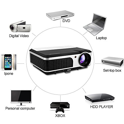 Caiwei Digital Led Projector Home Theater Beamer Lcd: CAIWEI Home Theater Projector 3D 1080P Projector Portable
