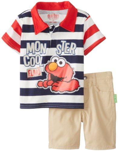 Sesame Street Little Boys' 2 Piece Elmo Stripe Short Set, Chinese Red, 4T front-932673