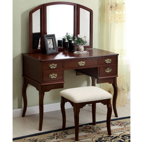 Ashland English Style Cherry Finish Vanity Table Set