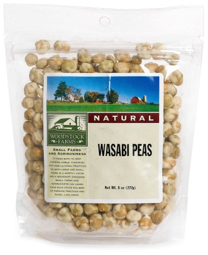 Woodstock Farms Wasabi Peas, Natural, 8-Ounce Bags (Pack of 8)