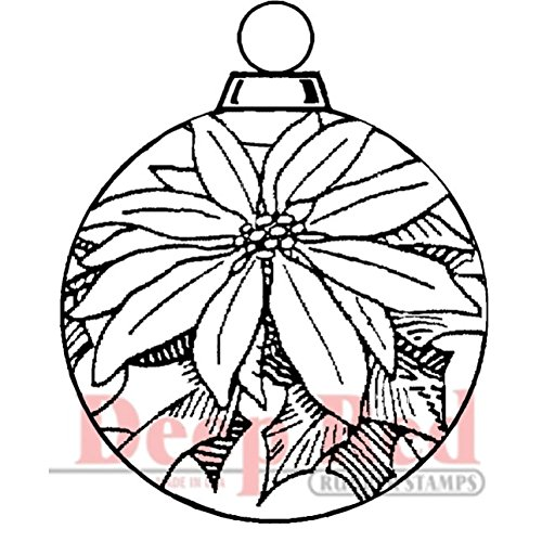 Deep Red Stamps Poinsettia Ornament Rubber Stamp - 1