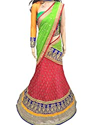 Suchi Fashion Pink & Green Heavy Embroidered Silk Semistitched Party Wear Lehenga Choli