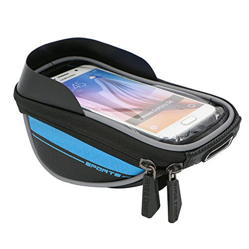 5.5'' Waterproof Touch Screen Dual Zipper 2.5L Capacity Mountain Bike Road Bicycle Cycling Front Frame Bag Tube Pannier Saddle Bag for iPhone 6 Plus, iPhone 6, Samsung Galaxy S5, Note 4 (Blue) (Road Bike Frame Set compare prices)